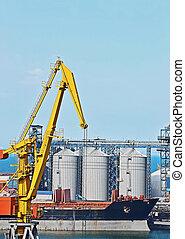 cargo, séchoir, grain, grue