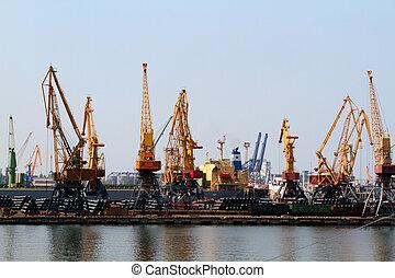 cargo, séchoir, grain, grue, port, odessa
