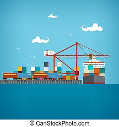 Cargo sea port , vector illustratio - Sea port, unloading of...
