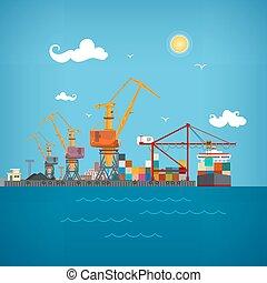 Cargo seaport , vector illustration