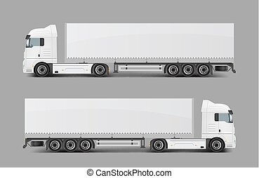 Cargo semi truck with trailer realistic vector - Blank white...