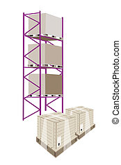 Cargo Shelf With Shipping Box in Plastic Wrap