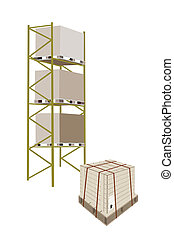 Cargo Shelf With Shipping Box in Steel Strapping