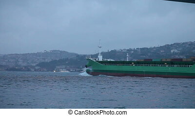 cargo ship 2 HD 1080p - cargo ship passing under bosphorus...