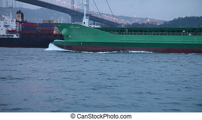 cargo ship 3 HD 1080p - cargo ship passing under bosphorus...