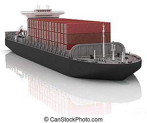 Cargo ship. 3D render Illustration