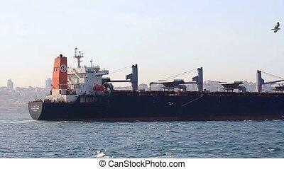 A large cargo ship sailing in Bosporus Sea