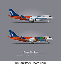 Cargo ship Airplane Isolated Vector Illustration