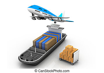 Cargo ship and airline - 3d Cargo ship and luggage%u2019s ...