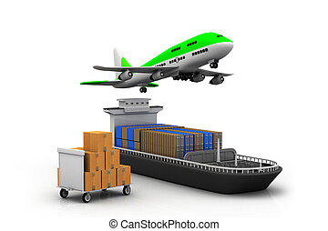 Cargo ship and airline - 3d Cargo ship and luggage%u2019s...