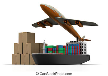 Cargo ship and luggage