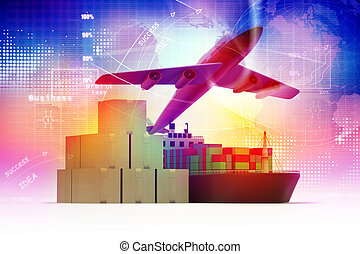 Cargo ship and luggage%u2019s with airli - Cargo ship and...