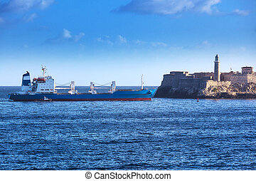 cargo ship and old fortress