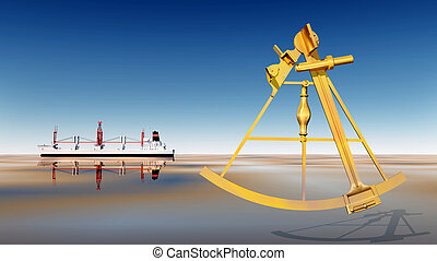 Cargo ship and sextant