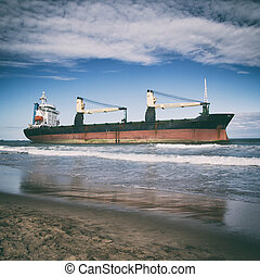 Cargo Ship - Beached Ship with Filter Effects.