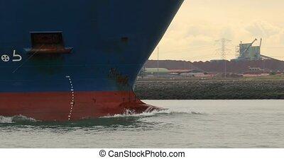 Large cargo ship bulbous bow design