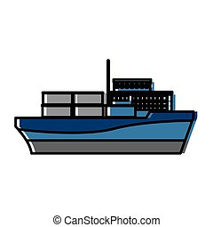 cargo ship carries steel containers for delivery