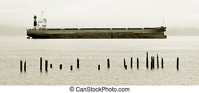 Cargo Ship, Columbia River - Photo of a cargo ship docked in...