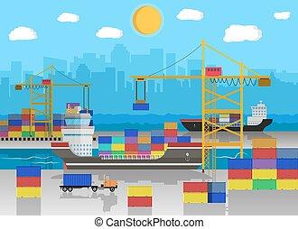 cargo ship, container crane, truck. port logistics