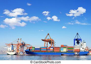 Cargo ship containers cranes