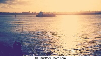 Cargo ship crossing on water