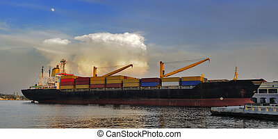 Cargo ship docked Havana bay - Panoramic view of container...