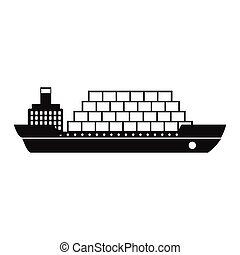 Cargo ship flat black simple icon on a white background