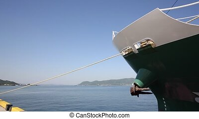 Cargo ship - front view of a big ship