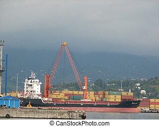 Cargo ship for commercial transportation in the port of Batumi, Adjara, Georgia.