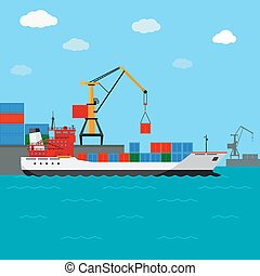 Cargo ship. Freight shipping by water. Transport and...