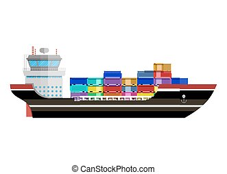 Commercial container ship - Cargo ship. Freight shipping by...