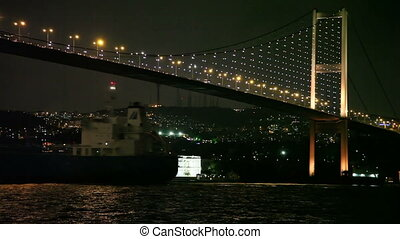 cargo ship HD 1080p - cargo ship passing under bosphorus...