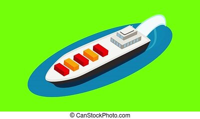 Cargo ship icon animation cartoon best object on green screen background