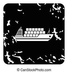 Cargo ship icon, grunge style