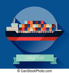 Cargo ship icon on background in flat design style