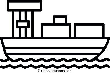 Cargo ship icon, outline style