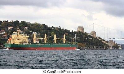 Cargo ship in Bosphorus