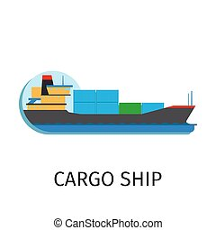 Cargo ship in flat style