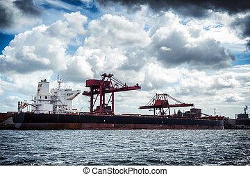 Cargo ship in harbor