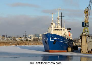 Cargo ship in port.