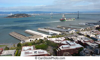 Cargo ship in San Francisco bay - Cargo ship sail in San...