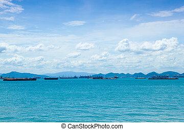 Cargo ship in sea