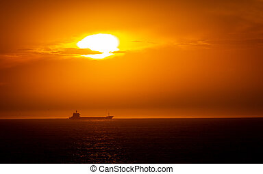 Cargo Ship in the Horizon