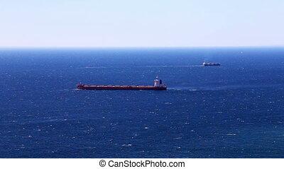 Cargo ship in the open ocean