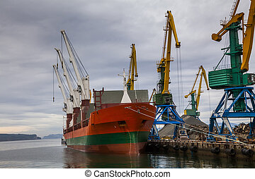 Cargo ship in the port. Kamchatka Peninsula.