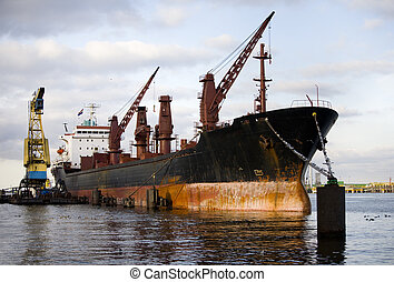 Cargo ship in the port of Amsterdam, the Netherland