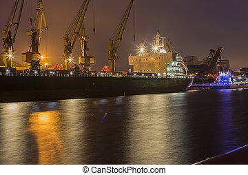 Cargo ship in the port of Ventspils, Latvia.