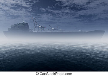 Cargo Ship in Very Foggy Industrial