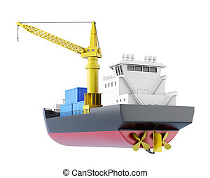 Cargo ship isolated. 3d rendering