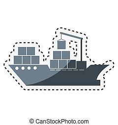 cargo ship isolated icon